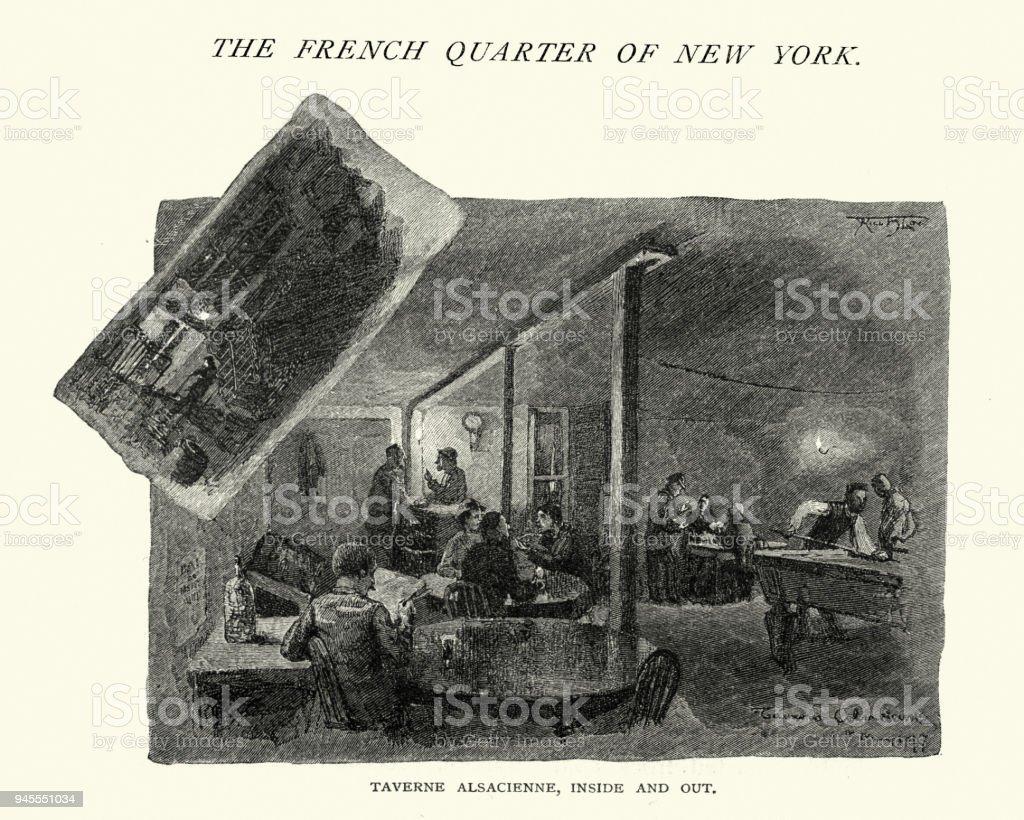 Taverne Alsacienne, Bar French Quarter New York, 19th Century vector art illustration
