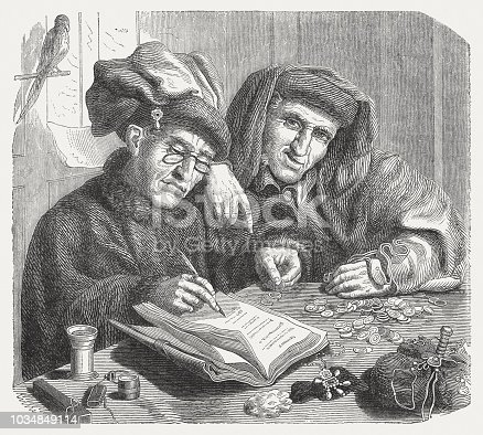 The Tax Collectors. Wood engraving after a painting (late 1520s) by Quinten Massys (Belgian painter, 1466 - 1530) in the Liechtenstein Collection, Vaduz, published in 1876.