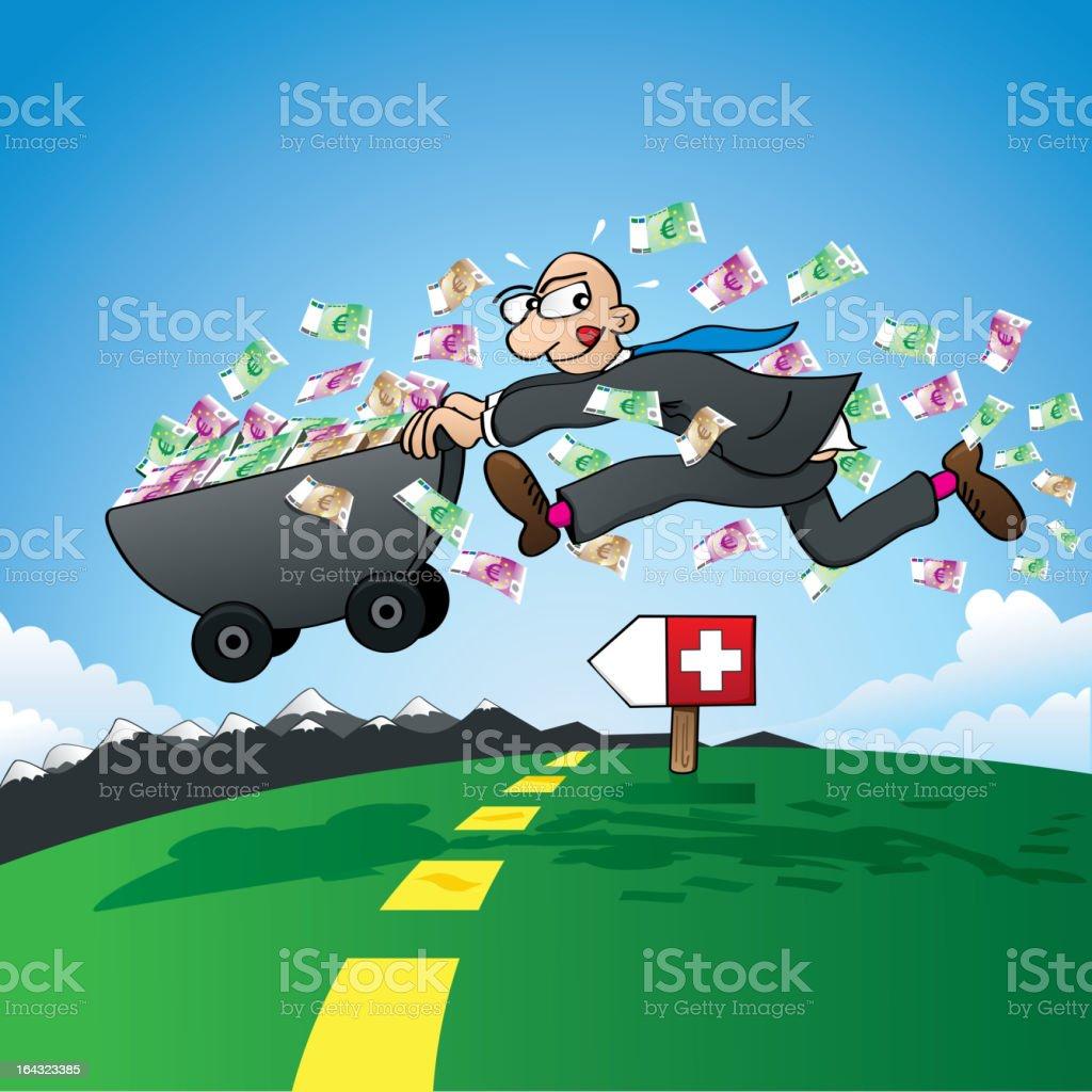 Tax evasion - smuggling savings to Switzerland vector art illustration