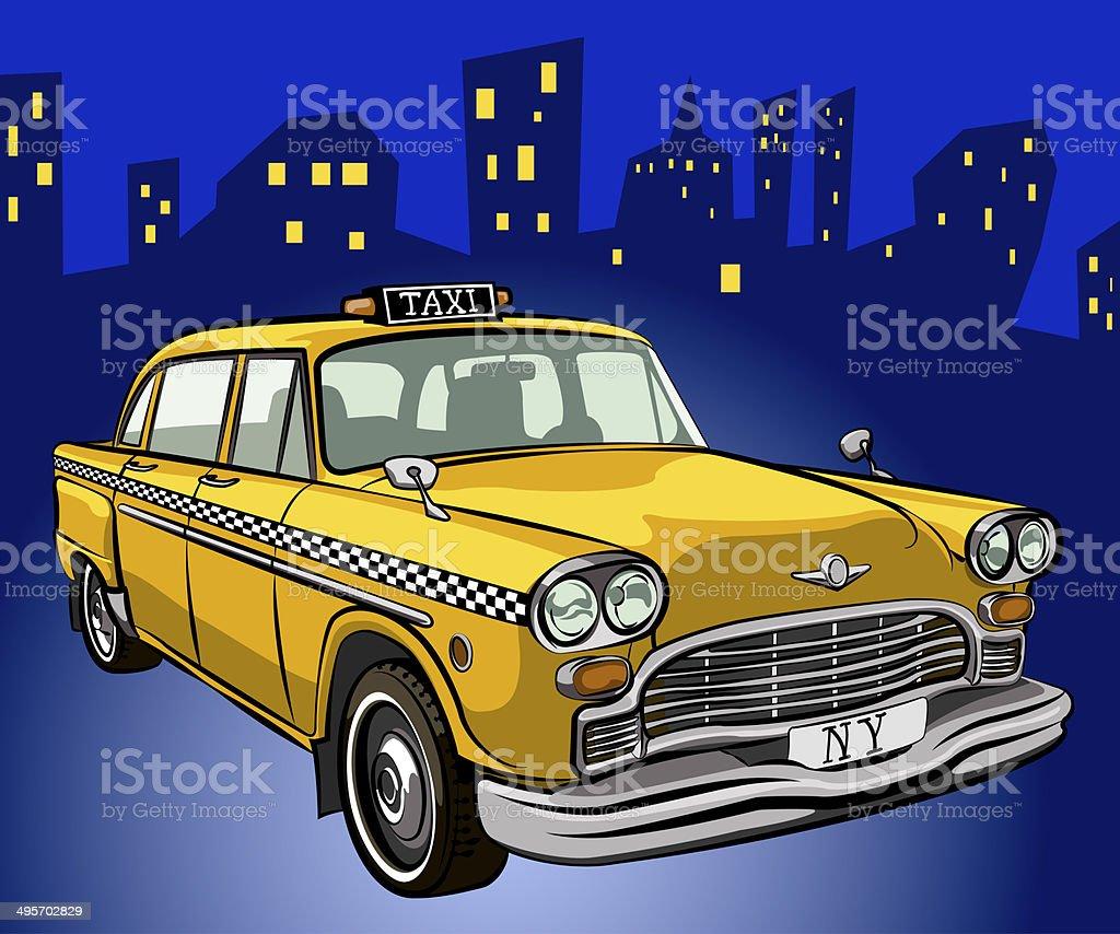 taxi cab vector art illustration