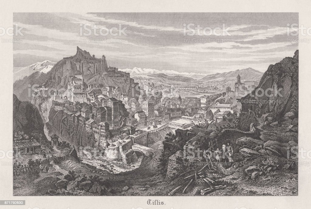 Tbilisi, capital of Georgia, steel engraving, published in 1889 vector art illustration