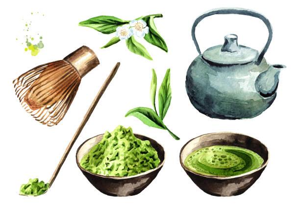 お茶会セット。抹茶、紅茶ポット、伝統的な緑の有機抹茶・茶筅木のスプーン ・ カップ。水彩の手描きイラスト、白い背景で隔離 - 抹茶点のイラスト素材/クリップアート素材/マンガ素材/アイコン素材