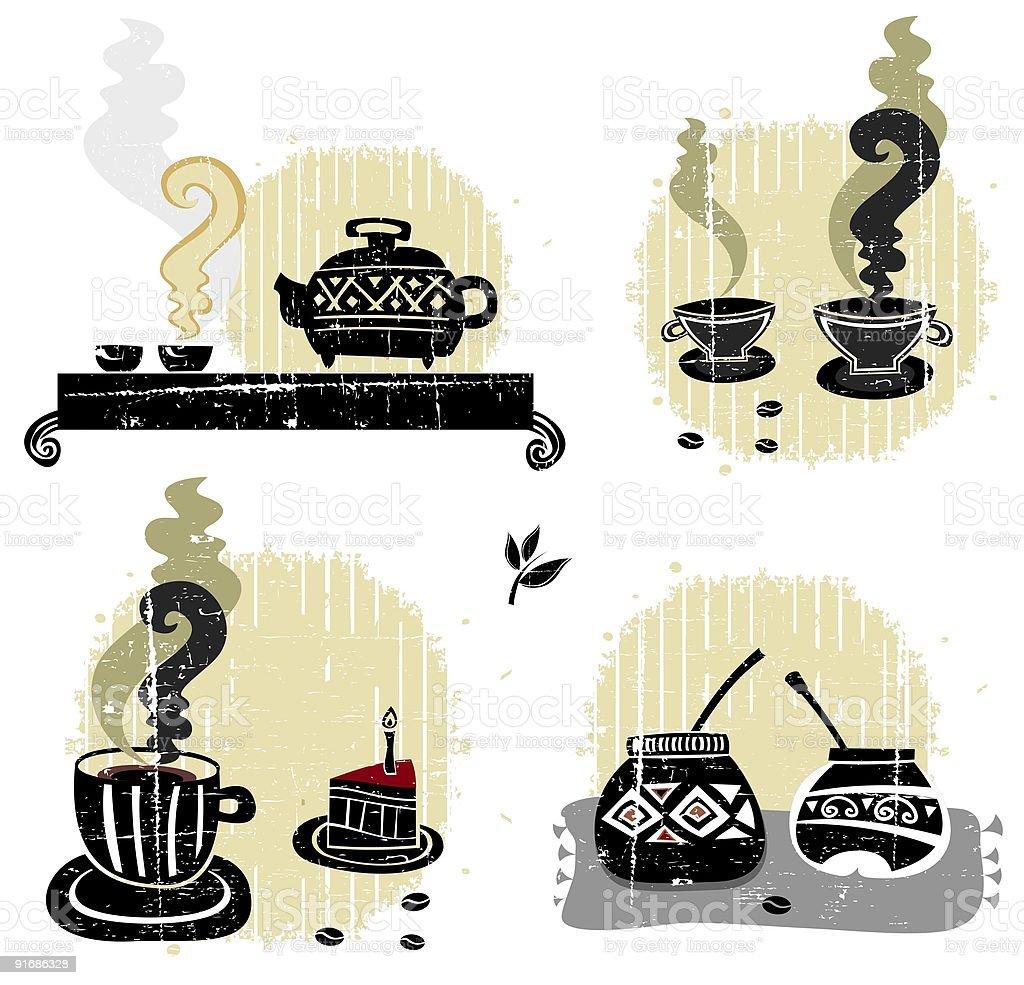 Tea coffee mate - set of drinks vector art illustration