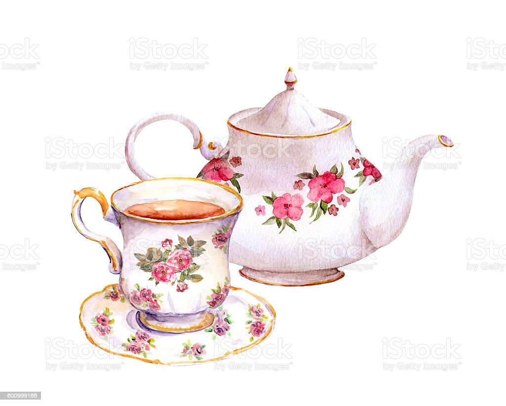 Tea cup and teapot with flowers. Watercolor vector art illustration