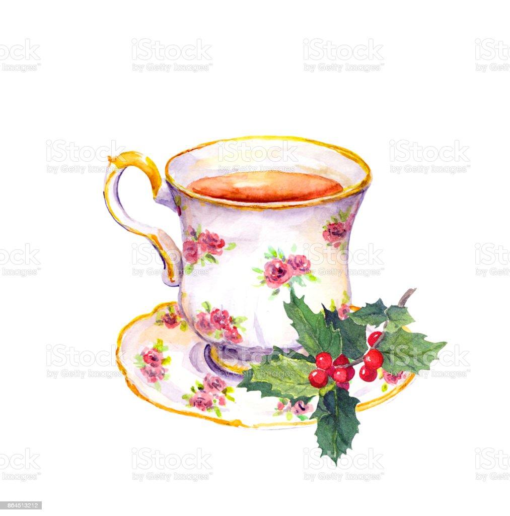çay Bardağı Ile Noel ökseotu Suluboya Stok Vektör Sanatı Bardak