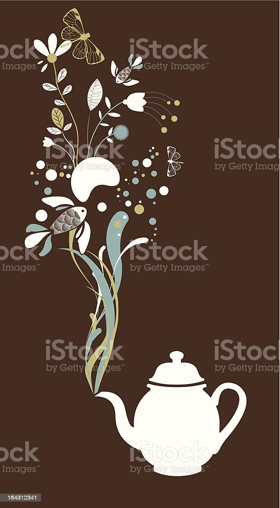 Tea pot fantasy on brown royalty-free stock vector art