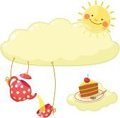 Colorful  background with cute sun, cloud, tea set and piece of cake.