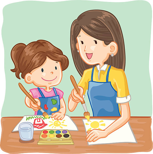 teacher and student painting - art class stock illustrations, clip art, cartoons, & icons