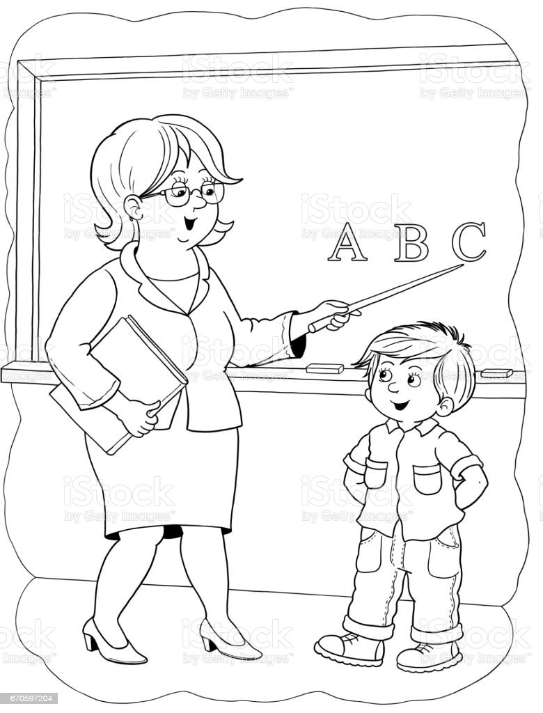 A Teacher Professions Illustration For Children Coloring Page Funny ...