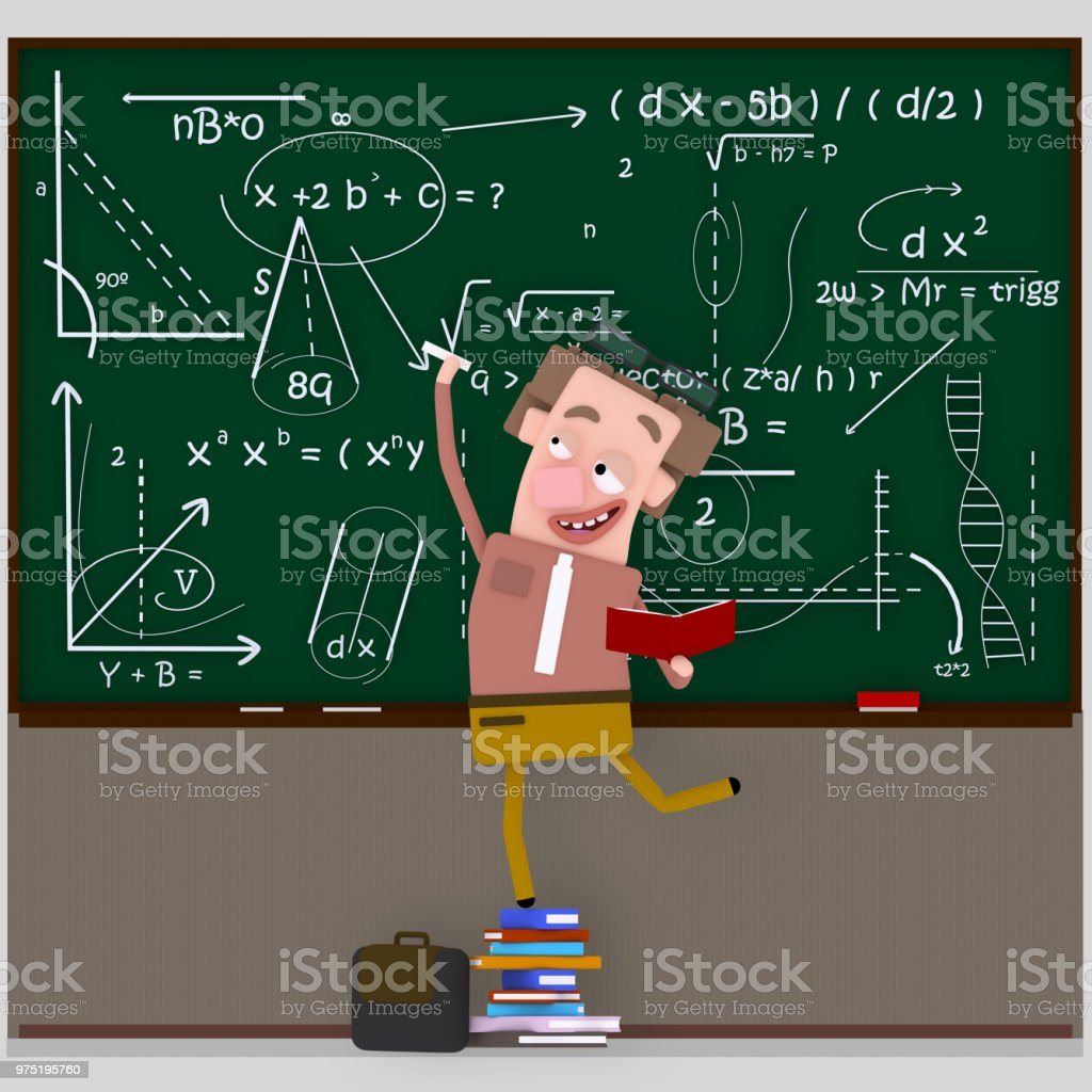Teacher Writing Maths Formula On Chalkboard Stock Vector Art & More ...
