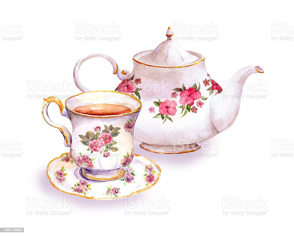 Teacup and tea pot with flowers. Watercolor ilustração de teacup and tea pot with flowers watercolor e mais banco de imagens de arte royalty-free