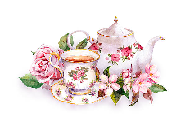 Teacup, tea pot, pink flowers - rose and cherry blossom Teacup and tea pot with pink flowers - rose and cherry blossom. Watercolor teapot stock illustrations