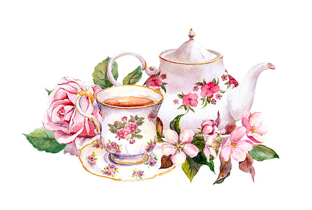 Teacup, tea pot with flowers. Vintage card. Watercolor Tea cup and tea pot with flowers. Vintage card. Watercolor teapot stock illustrations