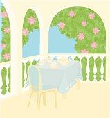 Tea-drinking in spring garden