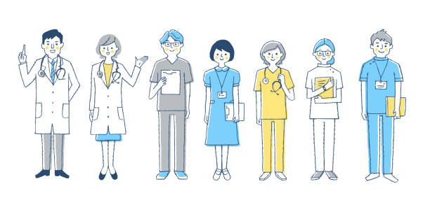 Team of healthcare workers More than one person biomedical illustration stock illustrations