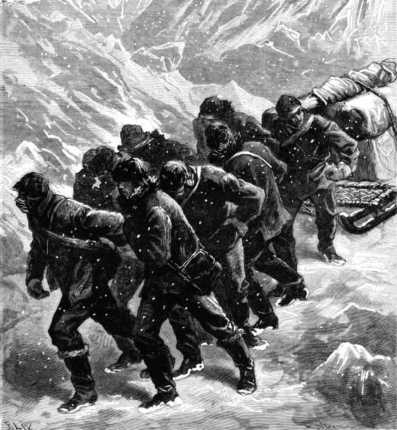 Equipo de hombres tirando de un trineo a través de hielo y nieve - ilustración de arte vectorial