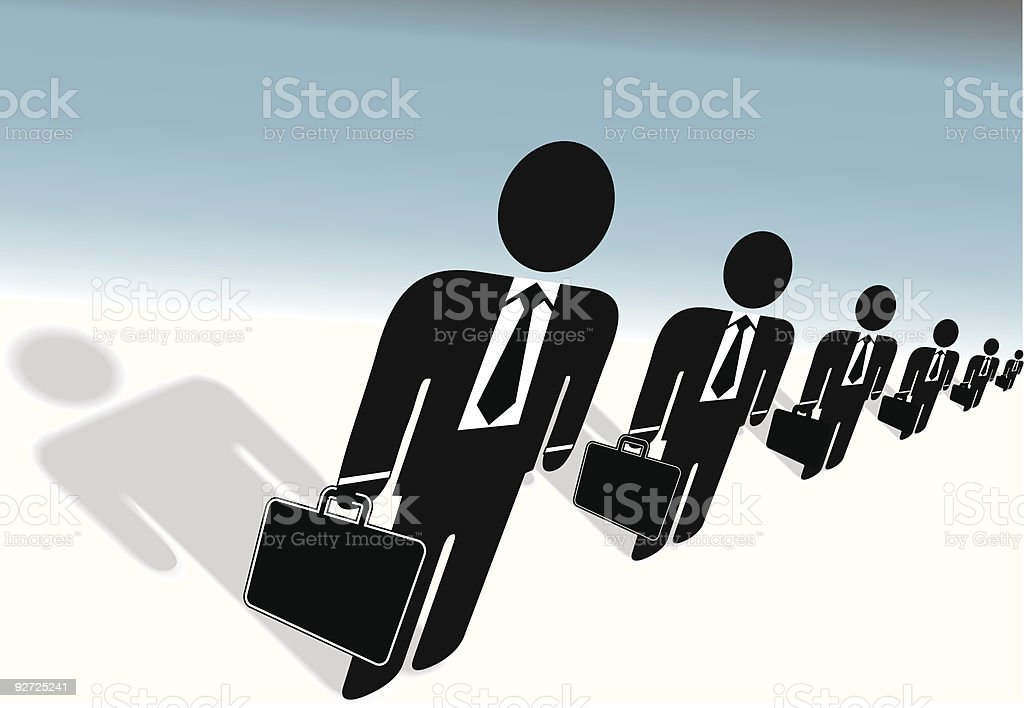 Team of Suits Briefcases Symbol Business People Ready to Work royalty-free stock vector art