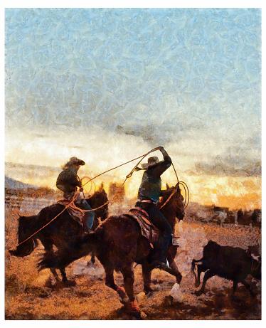 Team roping rodeo action - digital photo manipulation