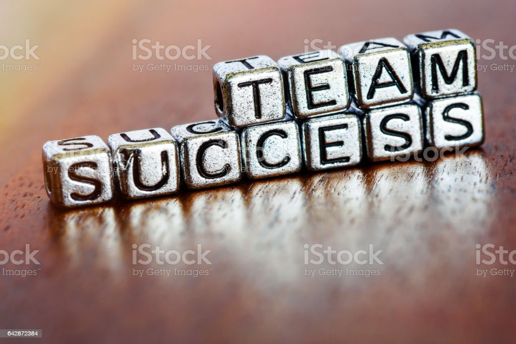 Small Metal Letters Team Success Business Letters On Arrange Small Metal Pieces Stock