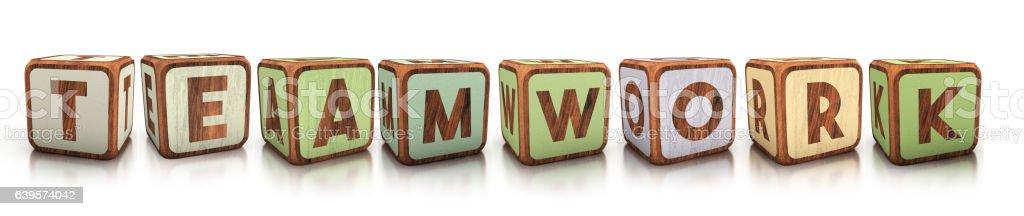 teamwork concept of wooden blocks. 3d illustration - ilustración de arte vectorial