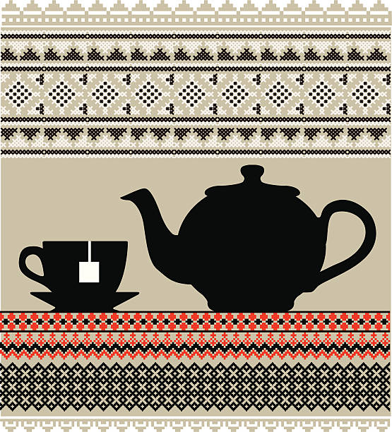 Teapot and cup illustration Teapot and cup illustration mexican restaurant stock illustrations
