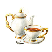 istock Teapot, Cup and saucer. Vintage porcelain. Hand drawn watercolor illustration isolated on white background 1268054321