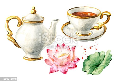 istock Teapot, cup of tea and Lotus set. Hand drawn watercolor illustration isolated on white background 1269913078