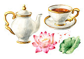 Teapot, cup of tea and Lotus set. Hand drawn watercolor illustration isolated on white background