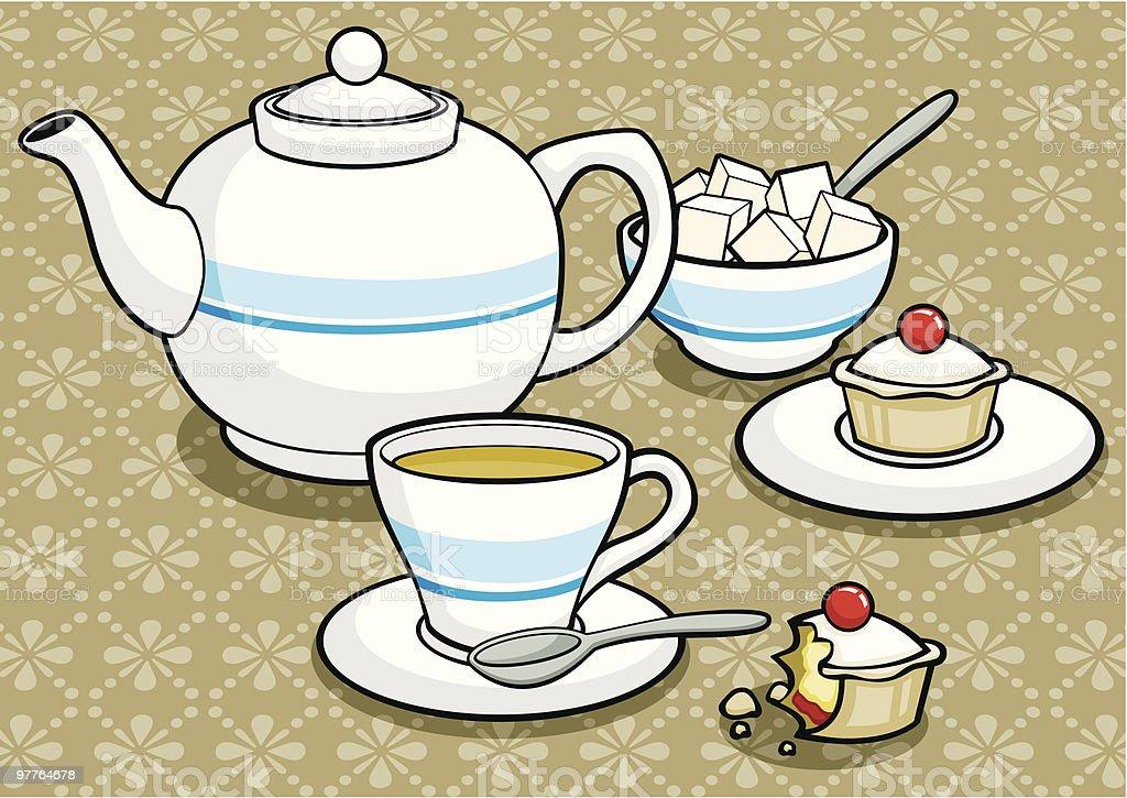 Teapot Teacup Sugarbowl Cakes - Royaltyfri Bakverk vektorgrafik