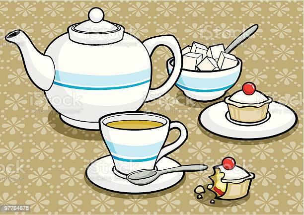 Teapot Teacup Sugarbowl Cakes-vektorgrafik och fler bilder på Bakverk