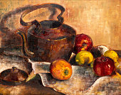 Still life painting with teapot, apples, lemons on a tablecloth background.