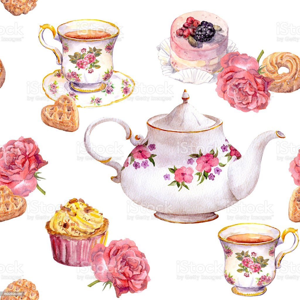 Teatime - tea pot, teacup, cakes, flowers. Repeating pattern. Watercolour vector art illustration