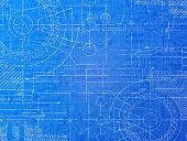 Technical blueprint electronics and mechanical  background illustration.