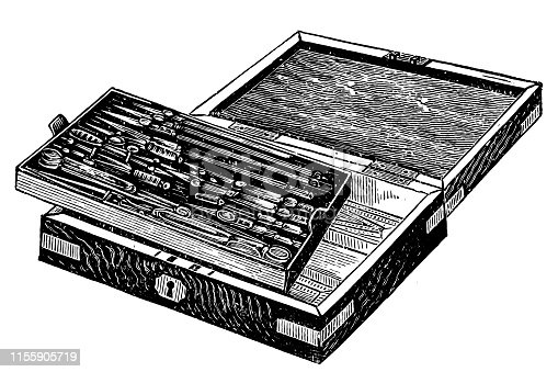 Illustration of a Technical drawing instruments in a box