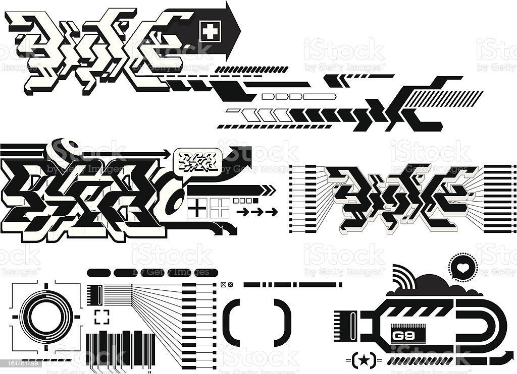 Techno elements FOUR royalty-free stock vector art