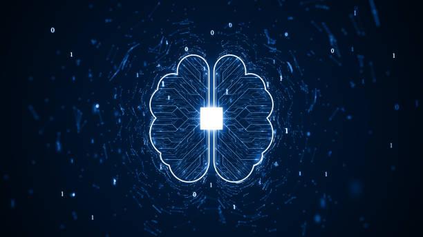 Technologie Künstliche Intelligenz (KI) Gehirnanimation digitales Datenkonzept. – Vektorgrafik