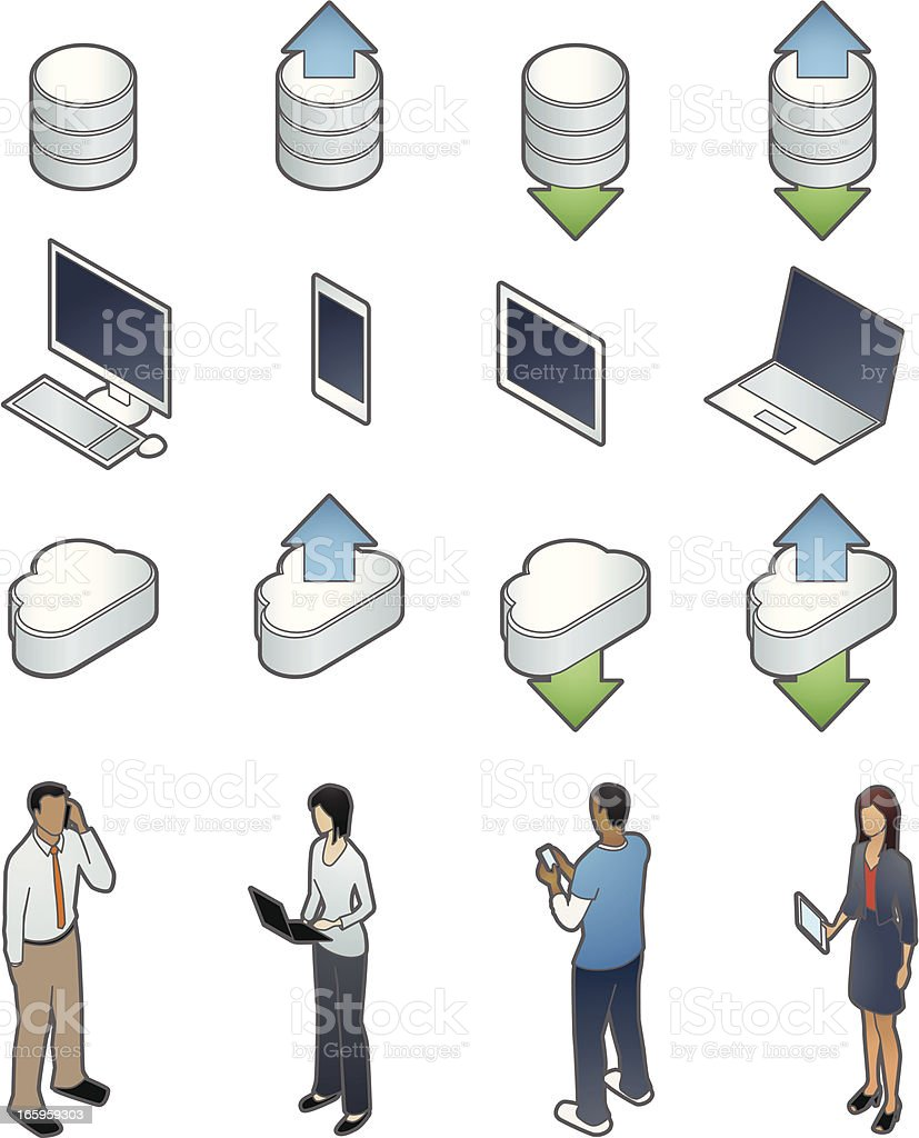 Technology Icons with People vector art illustration
