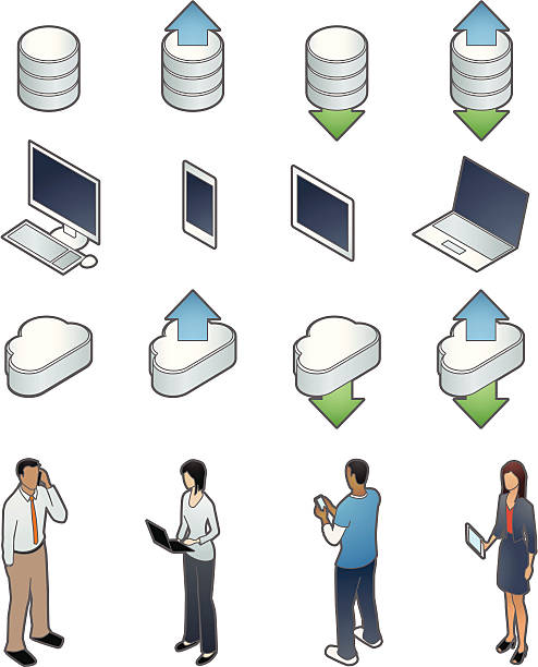 technology icons with people - mathisworks people icons stock illustrations, clip art, cartoons, & icons