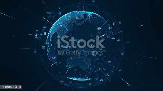 Global network concept. IoT(Internet of Things). ICT(Information Communication Network). Network of physical devices with network connectivity