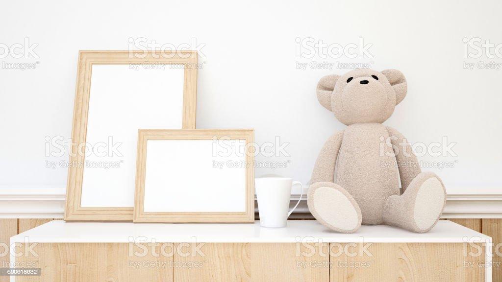teddy bear and frame picture for artwork - ilustração de arte em vetor