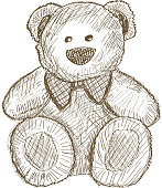 Hand drawn teddy bear isolated on white