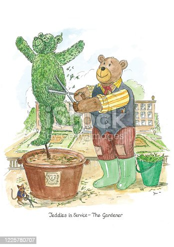Illustration of a teddy bear as a gardener. The teddy bear is trimming a hedge into the shape of a bear. A mouse is also seen trimming weeds.