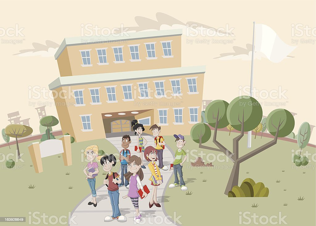 Teenager students in front of school vector art illustration