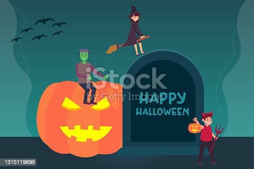 istock Teenagers in halloween costume with tombstone 1315119695