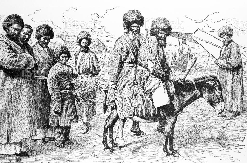 Tekkes on hourseback in Central Asia vector art illustration