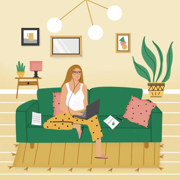 stockillustraties, clipart, cartoons en iconen met telewerken in tijden van crisis - woman home magazine