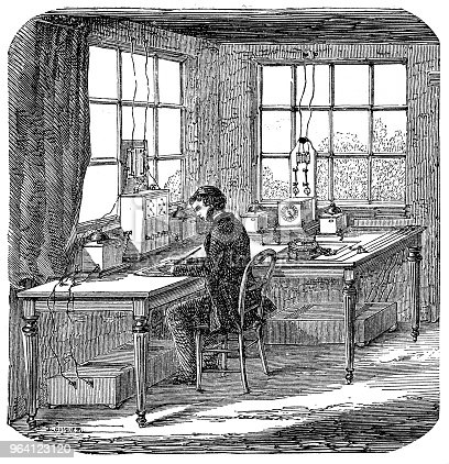 Illustration of a telegraph at a train station