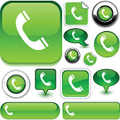 Telephone vector glossy icons.