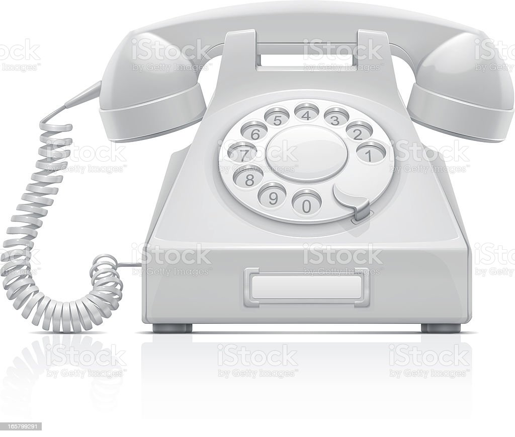 Telephone Vector illustration of white retro phone. Cable stock vector