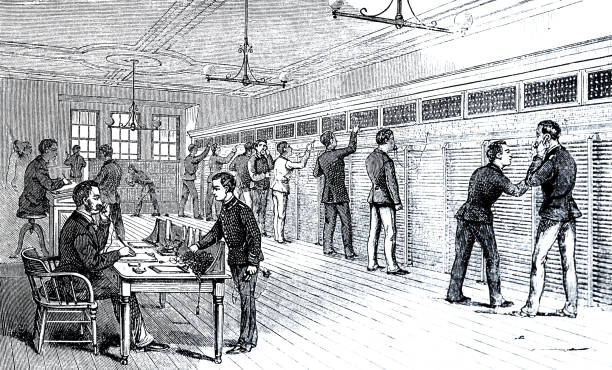 Telephone office of the stock exchange in New York Illustration from 19th century switchboard operator vintage stock illustrations